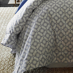 "Frontgate - SFERRA Connery Duvet Cover - 100% Egyptian cotton percale. Features generous flanged hems. Machine wash in warm water, gently cycle; wash dark colors separately. Tumble dry on low heat; iron on ""cotton"" setting if needed. Coordinates with the Grande Hotel and Orlo Bedding Collection; Grant Blanket and Burke and Orazio Throws. Reminiscent of Moroccan tile, the SFERRA Connery Bedding Collection is adorned with a cool, crisp, and modern geometric motif. The beautiful and clean design allows you to mix-and-match, making this collection perfect for creating a luxuriously restful bedroom.  .  .  . Tumble dry on low heat; iron on ""cotton' setting if needed .  . Woven and printed in Italy."