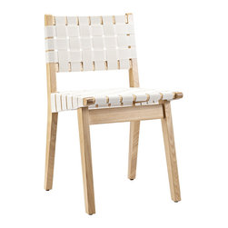 Woven Dining Chair - Quiet white fabric and natural wood allow this woven chair to blend into the perfect setting in your home. Influenced by Scandinavian design, this chair adds an understated touch to your dining table, living room, or bedroom.