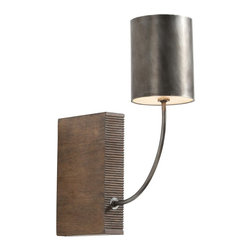 Arteriors - Flynn Sconce - Your light, your way. This handsome combo of hand-carved wood and iron-finished metal works as a table lamp or a wall sconce to illuminate your favorite setting in style.