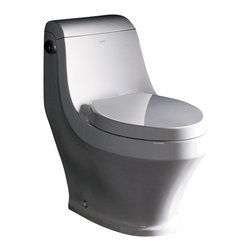 Fresca - Fresca Volna One-Piece Contemporary Toilet - The Volna elongated, one-piece toilet features an elegant, sophisticated design, that is both comfortable look at and to sit on.  This toilet features a low consumption single flushing system (1.6gpf).  It also features a fully glazed inner trapway and comes with a stain resistant polish making it easy to keep clean.