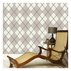 Graham & Brown - Argyle Wallpaper - A stunning diamond geometric wallpaper design which is textured in order to add even more depth and warmth to your room, this chocolate and taupe design will add real warmth to any room and bring a touch of Argyle to your walls.