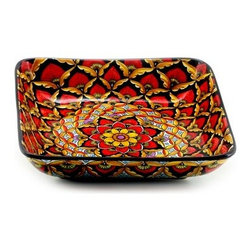 Artistica - Hand Made in Italy - Geribi: Square Centerpiece Bowl - Fully Decorated In-Out - Geribi Collection: