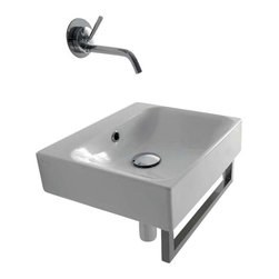 "WS Bath Collections - Cento 3539 Wall Hung or Counter Top Ceramic Sink 15.7"" x 13.8"" - Cento by WS Bath Collections Bathroom Sink 15.7 x 13.8, Designed by Marc Sadler of Italy, wall hung or counter top installation, in ceramic white"