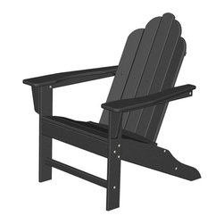"""Polywood POLYWOOD® Long Island Adirondack Chair in Black - Bring the easy comfort of a day at the beach to your outdoor living area with the stylish and eco-friendly Long Island Adirondack Chair inspired by the classic Northeast Adirondack with a twist of modern design. You don't need a house in the Hamptons to create your own breezy get away with these classically styled pieces constructed from HDPE material – an incredibly durable material made from post-consumer bottle waste, such as milk and detergent bottles. The Long Island Adirondack Chair comes in nine vibrant, fade-resistant colors so you can mix and match with any décor. Solidly constructed with stainless steel hardware, these pieces will stand the test of time and can withstand the elements with very little maintenance.  The Long Island Adirondack Chair will not absorb moisture, so there's no fear of splintering, cracking or other weather-related wear and tear. They require no waterproofing, painting or staining to maintain their bright color for years, even through rain, snow, saltwater and ice. The colors are blended into the material all the way through, and are UV-resistant. Minimal assembly is required.Available colors: Sunset Red, Tangerine, Lemon, Lime, Aruba, Pacific Blue, Teak, White, and Black.  Dimensions: Long Island Adirondack Chair – 38.5""""H x 31.25""""W x 33.75""""D, Seat height – 16"""", Seat size – 22"""" x 17.75""""   Care: The Long Island Collection washes easily with mild soap and water. They can be power washed at pressures below 1,500 PSI."""