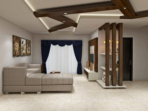 Rafters in living room for Simple false ceiling designs for living room