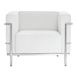 LexMod - Le Corbusier Style LC3 Armchair in Genuine White Leather - Urban life has always a quandary for designers. While the torrent of external stimuli surrounds, the designer is vested with the task of introducing calm to the scene. From out of the surging wave of progress, the most talented can fashion a forcefield of tranquility.