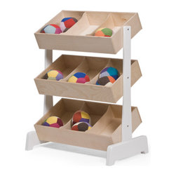 Oeuf Toy - This toy storage is a favorite product for two reasons: it looks sleek and great and offers understated detailing in its white legs and delicate construction--not to mention that studies have shown that open and accessible bins enhance pretend play and creativity. Plus this baby is eco-friendly!