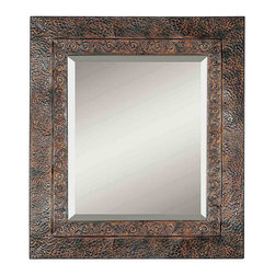 "Uttermost - ""Uttermost Jackson Metal Mirror 0.75 x 34 x 30"""", Rust"" - ""This rustic metal frame features a brown finish with rust and black undertones. The inner lip has a fluer-de-lis detail and outer edge has a dented appearance.Designer: Grace FeyockDimensions: 0.75"""" depth by 34"""" width by 30"""" heightMaterial: metal"""