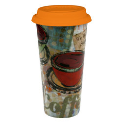 Konitz - Set of 2 Large Travel Mugs Fresh Brew - Sip your coffee-house brew from this cool travel mug. Extra large collage-style mug has orange snap-on lid. A convenient way to enjoy your drink on the go. Can be used again and again for an environmentally-friendly alterative to paper coffee cups.