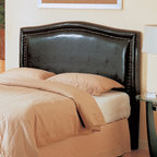 Coaster - Transitional Deep Brown Leather Headboard - This headboard in deep brown leather features a glamorous, brushed nailhead trim. Matching storage bench also available.