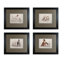 Sterling Industries - Decorative Wall Art, Dog Duos, Set Of 4 - Decorative Wall Art, Dog Duos, Set of 4