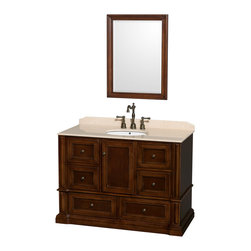"""Wyndham Collection - Rochester 48"""" Cherry Single Vanity, Ivory Marble Top, Undermount Oval Sink - Old world charm meets modern functionality with the Rochester line of traditional bathroom vanities. Designed to look great in any setting, from modest country home to palatial estate, the Rochester vanities will revive and renew your personal sanctuary. Natural stone tops give a touch of additional luxury and the antique bronze hardware adds the finishing touch. The down-to-the-floor base imparts a sense of weight and grandeur, while ample cupboard and drawer storage ensures the quality and practicality that the Wyndham Collection is known for."""