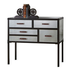 Uttermost - Uttermost Larimore Mirrored Console Chest - Larimore Mirrored Console Chest by Uttermost Campaign-style Chest With Dark Bronze Iron Frame And Antiqued Mirror Panels. Five Smooth-rolling Drawers Are Accented By Chrome And Faux Leather Luggage Pulls.