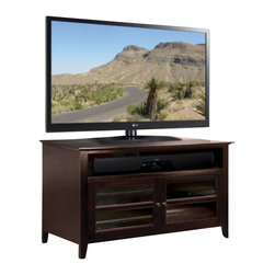 """Bello - Bello 44"""" TV Stand in Dark Espresso - Bello - TV Stands - WAVS99144 - This impressive Dark Espresso finished wood audio/video cabinet offers versatility and functionality with a finely crafted elegant design and assembles in minutes with absolutely no tools required. It can accommodate most TVs up to 46""""or 125 lbs. and with the removable and height adjustable interior shelves it can also support up to six audio/video components. An integrated CMS Cable Management System hides and routes wires and interconnect cables while internal slots provide proper air circulation for convection cooling of your components."""