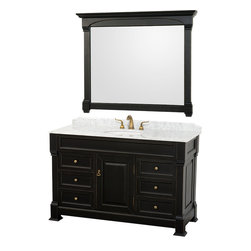 Wyndham Collection - Andover Vanity in Antique Black, White Carrera Top, White UM Sink - A new edition to the Wyndham Collection, the beautiful Andover bathroom vanity series represents an updated take on traditional styling. The Andover is a keystone piece, with strong, classic lines and an attention to detail. The vanity and solid marble countertop are hand carved and stained. Available in Black, White and Dark Cherry finishes to match any decor. Available in a range of single or double vanity sizes to fit any bathroom.
