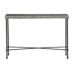 Conservatory Console Table - There's something very Paris flea market French Industrial find about this console table from Crate and Barrel. It's sand-casted aluminum top and waxed finish make it looks like it has a very interesting history, even though it's brand new. Add it to your entryway or use it as a sofa table.