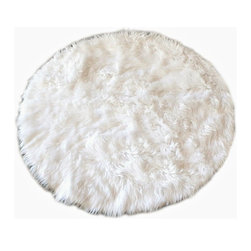 "Fur Accents USA - Classic Accent Rug/Faux Fur Sheepskin/Plush and Cozy/Creamy White, 80"" - The Quintessential Faux fur Accent Rug / Round / Warm Off White / Shaggy but not too Shaggy / Animal Free and Eco Friendly / Perfect for that Soft Spot in your Favorite Room / Fur Accents Classic Sheepskin / Polar Bear Designer Area Rugs"
