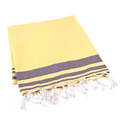 Handmade 100% Cotton Tunisian Fouta Hammam Towel, Yellow - Bright and light, a fouta is a textile derivative of the traditional hammam towels of Turkey and North Africa. It is large enough for one person to use it as a beach towel. The foutas are made of lightweight cotton and roll up tightly, perfect for tucking in a bag and taking with you. Plus, they're as absorbent as traditional terry-cloth towels, and they dry quickly, too.
