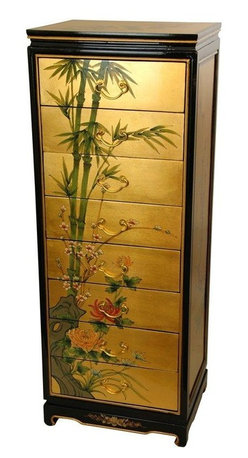 Oriental Furniture - Gold Leaf Eight Drawer Cabinet - This is a stunningly beautiful cabinet, with lots of practical, useful drawer space for your most delicate and beautiful clothing. A handmade piece of fine furniture, with eight hand crafted dovetailed drawers, designed to provide a life time of constant use, as well as an outstanding, eye catching oriental accent. This level of craftsmanship is rare in the modern furniture industry, and we are proud to present this line of fine lacquer furniture our customers. The joinery and cabinetry is superb, and the authentic 24 carat gold leaf catches light beautifully. Each cabinet is hand painted with a lovely oriental birds and flowers motif, adding a unique, subtle, artistic beauty to each these fine chests of drawers.