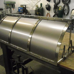 Products - Custom Metal Vent Hood for Sale.  Titanium with Polished Nickel Banding and Nickel Rivets.