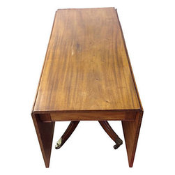 """Consigned George IV Drop-Leaf Table - Beautiful 19th-century George IV period drop-leaf table on casters. When open, 60""""L. Antique 19th century. Excellent conditon."""