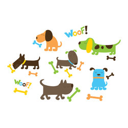 "WallPops - Puppy Love Wall Decals - Our puppy dog decals are completely charming in a kid room! With dogs of all shapes and sizes, plenty of bones, and ""woof!"" these colorful wall stickers are perfect for dog lovers.  This wall art kit contains 27 pieces on four 9.75"" x 17.25"" sheets. WallPops are repositionable and always removable."