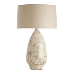 Wallace Organic Pistachio Glaze Terracotta Lamp - A vase-shaped lamp with a dramatic taper toward its abbreviated mouth, the Wallace Pistachio Glaze Terra Cotta Lamp barely tints your d�cor with the subtle hint of pale garden green in both base and shade.  Nearly neutral with a variegated and rippled, layered glaze on its base and a sophisticated cotton fabric with a linen lining chosen for use on its smooth, barely-tapered lampshade, it strikes a perfect note with its refined organic detail.