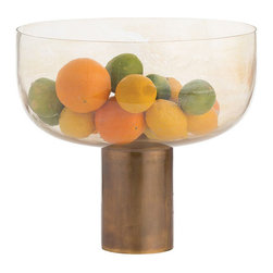 """Arteriors - Arteriors Home - Heather Bowl - 4254 - This beautiful silveria mouth blown glass bowl sits atop an antique brass cylinder. The juxtaposition of the materials and the dimensions make this a most unique centerpiece. Stand alone or fill with florals or fruits. Decorative use ony. Features: Heather Collection BowlSilveria GlassAntique Brass Finish Some Assembly Required. Dimensions: H: 13"""" x 14"""" Dia"""