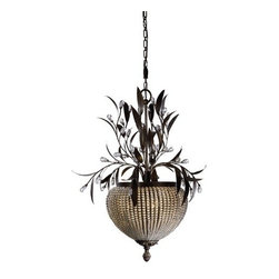 Uttermost - Uttermost - Cristal de Lisbon Pendant in Crystal Beads - 21004 - This three light chandelier from the Cristal de Lisbon Collection is a wonderfully unique fixture. Rows of crystal beads fill the channel of the narrow ribs, and bouquets of the same cut crystals spill over the edges, their rich unique color catching the light in both the prisms and also in the beading. The Cristal de Lisbon three light chandelier will not disappoint.