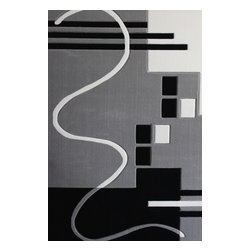 Rug - 3-Piece Grey/black/White Living Room Area Rugs Set, Geometric & Machine Made - GEO COLLECTION