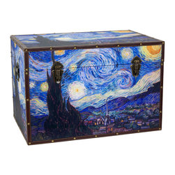 Oriental Furniture - Van Gogh's Starry Night Trunk - This trunk features Vincent Van Gogh's beloved masterpiece Starry Night in brilliant color and vivid detail. Printed on art-quality canvas, every hue of his famous vision of the night sky over southern France is lovingly reproduced for your viewing pleasure. Featuring a fabric-lined interior and a sturdy yet surprisingly lightweight wooden frame, this chest is perfect for augmenting existing storage space while adding bold colors to a room. Other features include a convenient arm to hold the lid open, tight-clasping closures, and reinforced faux leather edges in a perfect marriage of function and form. This trunk would be wonderful as a colorful accent to your home decor, or as a fine gift to an art lover in your life.