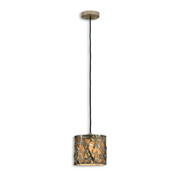 Uttermost - Uttermost Alita Champagne Mini Pendant Light Fixture in Silver/Champagne Leaf - Shown in picture: Silver/Champagne Leaf With Black Dry Brushing And Antique Stain. Silver/champagne leaf finish on metal strips with black dry brushing and antique stain.
