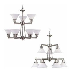 Sea Gull Lighting - 9-Light Chandelier Brushed Nickel - 39063BLE-962 Sea Gull Lighting Sussex 9-Light Chandelier with a Brushed Nickel Finish