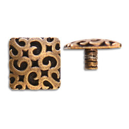 "Compliments Accessories - Sophia Tile Tack - 3/4"" Byzantine Scroll design Tile Tack with a 1/4"" stem in an Aged Brass finish"
