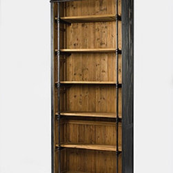 French Library Single Bookcase-Black - Our Solid Wood French Library Bookcase is embellished with iron and brass details resemble the French libraries of the 1940's, provide smart and stylish organization for any room. Crafted from iron and recycled pine wood with matte black finish.