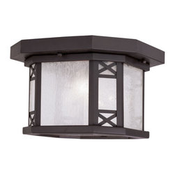 """Livex Lighting - Livex Lighting 2319 Tahoe Outdoor Flush Mount Ceiling Fixture with 2 Lights - Livex Lighting 2319 Tahoe Two Light Outdoor Ceiling FixtureWith a modern twist on the classic lantern motif, the Tahoe two light outdoor ceiling fixture showcases a beautifully subtle Asian inspired design. With an octagonal cross section, natural looking seeded glass and decorative """"x"""" shaped accents the Tahoe is a perfect way to update and enhance the look of your home.Livex Lighting 2319 Features:"""