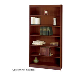 "Safco - 6-Shelf Square-Edge Veneer Bookcase - Mahogany - Restore your reason to work from the office with furnishings that make your workplace feel like home. Clean traditional design fits into any office decor. Top-notch right angles and earth-wise sophistication stand out in the Square-Edge Veneer Bookcase. Exquisitely showcase photographs, keepsakes, literature and resources. With the strength of a forest, two shelving options, both 11-3/4"" deep, accommodates storage and display needs. Standard shelves support up to 100 pounds and steel reinforced shelves support 150 pounds. Each bookcase preserves a custom-craft finish with shelf-lock fasteners for easy assembly.; Features: Material: Wood Veneer, Particle Board; Color: Mahogany; Finished Product Weight: 102 lbs.; Assembly Required: Yes; Tools Required: Yes; Limited Lifetime Warranty; Dimensions: 36""W x 12""D x 72""H"