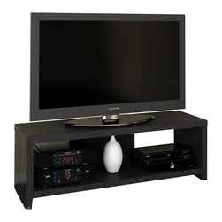 "Ameriwood - Ameriwood 60"" Hollow Core TV Stand in Black Ebony Ash - Ameriwood - TV Stands - 1193026PCOM - Give your entertainment system a clean minimalist look with this Transitional TV stand from Ameriwood. The Ameriwood Hollow Core TV Stand features a sleek silhouette of straight lines for a simple modern profile. Made from a mix of Hollow Core and Particle Board and finished in Ameriwood's Black Ebony finish the entertainment console can be coordinated with virtually any style decor from classic to ultra-transitional. The stand is built to hold flat-panel TVs up to 60""With a maximum weight of 200 pounds on the top shelf. A lower open shelf supports up to 100 pounds and offers additional space for your cable / satellite box DVD player audio receiver gaming systems or other components. The TV stand is easy to assemble with household tools. Made in USA."