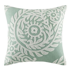 "Harbor House - Set of 2 Miramar Sea Foam Aqua 18""x18"" Embroidered Square Pillow - The square pillow features a floral and leaf embroidery and is made from cotton faux linen for a casual yet sophisticated look.  Body: 100% cotton faux linen fabric with chain stitching embroidery; Filling: 100% polyester."