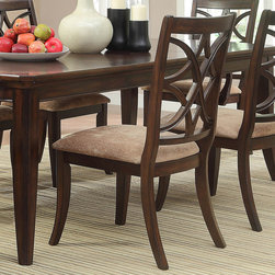 Homelegance - Homelegance Keegan Side Chair w/ Beige Fabric Seat in Brown Cherry - Exuding the sophisticated elegance that your formal dining room calls for, the Keegan Collection will wow your dinner guests. The china cabinet stands at attention, not only functioning as a storage facility for all of your tabletop's finest, but as the grand centerpiece of this stylish dining offering. For additionalkeeping+Kitchen & Dining/Housekeeping/Brooms & Mops=Kitchen & Dining/Housekeeping/Brooms & Mops/Brooms & Sweepers.Kitchen & Dining/Housekeeping/Cleaning Brushes*Kitchen & Dining/Housekeeping/Drying Racks0Kitchen & Dining/Housekeeping/Dusters & Dustpans+Kitchen & Dining/Housekeeping/Electric Fans%Kitchen & Dining/Housekeeping/Hangers,Kitchen & Dining/Housekeeping/Ironing Boards5Kitchen & Dining/Housekeeping/Iron & Garmen - 2546S.  Product features: Elegantly overlapping chair back design; Neutral tone fabric seat; Brown Cherry finish. Product includes: Side Chair (1). Side Chair w/ Beige Fabric Seat in Brown Cherry belongs to Keegan Collection by Homelegance.