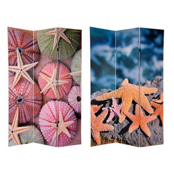 Oriental Furniture - 6 ft. Tall Double Sided Starfish Room Divider - Graced with subtle beauty and decorated with the unique shapes and soft colors of the cradle of life, our Starfish room divider captures elements of the sea, one of natures greatest gifts to mankind, and brings it into your living or office space. Remarkable National Geographic quality photographs taken by a master wild life photographer, reproduced as six foot prints. Popular images wherever the beach is popular, regardless of how far away it is.
