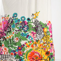 """Woodland Garden Shower Curtain - It's truly not for the faint of heart, but this riotously colorful shower curtain will cure a serious case of the bathroom """"blahs."""""""
