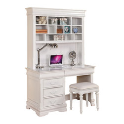 "Acme - Classique Collection White Finish Wood Children's Desk Hutch and Stool - Classique collection white finish wood children's desk hutch and stool. Desk features 5 drawers , hutch with multiple shelves and a padded stool. Desk measures 50"" x 24"" x 30"" H. Hutch measures 50"" x 12"" x 44"" H. stool measures 18"" x 15"" x 19"" H. Some assembly required."