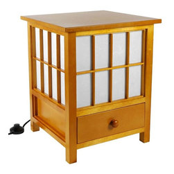 """Oriental Furniture - 19"""" Hokkaido Lamp with Drawer - Honey - This Hokkaido Lamp includes a convenient storage drawer. Handcrafted by artisans in Guangdong, it features an elegant spruce frame and a white rice paper shade that produces a soft, ambient light."""