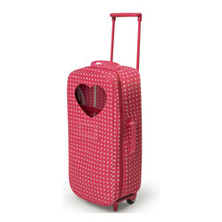 Badger Basket - Trolley Doll Travel Case with Rocking Bed and Bedding - Star Pattern - Badger Basket's Trolley Doll Carrier is designed for going down the street or jetsetting around the world with your 18 inch doll!; It is stylish, comfortable, and convenient!; Pack your doll and her accessories, zip, and go.; Trolley has an adjustable pull handle, and two smooth-rolling wheels.; Carrier attaches to the trolley with three hook-and-loop straps.; Carrier can be removed from the trolley frame to carry separately by the tote handles on the top and side.; Trolley has footrests on the front to assist with standing up.; Also includes a travel bed, pillow, and blanket so your doll can slumber comfortably anywhere.; Travel bed can be used in either a rocking or stationary position!; Card holder on the front for adding a name or address tag (paper card not included).; Secure your doll inside with the hook-and-loop-tape straps.; Clear, heart-shaped vinyl window on the front so you can see in (or your doll can see out!).; Front window is useful if you have multiple dolls to pack and store. No need to unzip to see who is inside when you are choosing a friend for play or travel.; Travel bed folds flat and stores inside.; Bed assembles simply by unfolding it and inserting the platform panel.; Ample room for additional clothing and accessories (not included).; Five, elasticized, mesh pockets hold small items.; Heavy duty resin zipper with dual pulls.; Fits 18 inch dolls such as American Girl, Madame Alexander, and Our Generation.; Spot clean travel case and travel bed as needed with a damp cloth and mild detergent. Allow to Air Dry.; Do not heavily soak nor immerse the travel case nor the travel bed in water.; Hand wash pillow and blanket and allow to air dry.; Bed, pillow, and blanket are completely independent of the travel case and can be left out of the case if you want more room for accessories when packing up to hit the road.; Grab tabs at either ends of the zipper help you hold the case steady when opening or closing.; Pull handle can be either fully folded or fully extended (no stop positions in between).; Travel case is made with 100% polyester Oxford fabric with PE foam filling.; Bed, Pillow, and Blanket are made with 80% polyester/20% cotton fabric. Pillow has polyester filling.; Trolley frame is made with steel metal and plastic.; Illustrated instructions included.; Can be enjoyed by children from three years old and up.; Doll and clothing/accessories shown in the photos not included.; Meets all current, applicable safety standards.; This item is a toy only and is never to be used with real infants or pets.; Actual product may vary slightly from shown and described.; All measurements approximate.; Product includes a warranty of 30 Days Parts to the original owner.; This item ships in its original carton which may include a photo of the product.; WARNING: CHOKING HAZARD - Small parts. Not for children under 3 yrs.; TRAVEL CASE WITH TROLLEY: 9 inches W x 7 inches D x 23 inches High (30.75 inches High with handle fully extended); TRAVEL CASE ALONE: 9 inches W x 6.25 inches D x 20.2 inches High; TROLLEY FRAME ALONE: 6.25 inches W x 4-5/8 inches D x 22.5 inches High; BED: 20 inches L x 11 inches W x 7 inches High; PADDED PILLOW: 7.25 inches L x 4.5 inches W; BLANKET: 17.75 inches L x 14.5 inches W