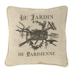 "Kathy Kuo Home - French Country ""Le Jardin de Parisienne"" Square Toss Pillow - If you can't make it to Paris, bring Paris and its gardens to you with this printed linen throw pillow. Its pastoral design transports the beauty of rustic France to your living space. Relax into this pillow while you book your next flight!"