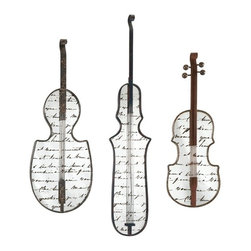 Jazz Musical Instruments Mirror Wall Decor - Set of 3 - *Present a muted overture in wall decor with this set of three mirrors shaped like stringed instruments.  Constructed of iron and mirror and featuring antiquing over script, these mirrors are perfect for any music lover.