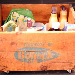 eclectic bathroom vintage wood crate with wheels