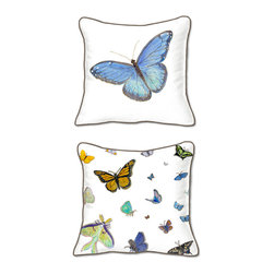 Casart Coverings - Butterflies Pillow Slipcover - Reversible, all-weather, washable pillow slipcover
