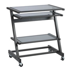 Euro Style - Contemporary Compact Z Mobile Computer Desk w - Made of Tempered Glass and Steel Frame. Industrial locking casters. Powder epoxy coated steel frame. Adjustable tempered glass shelves. Suitable for commercial use. Graphite Black Frame and Smoked Glass. 27 in. W x 19.75 in. D x 30 in. H.